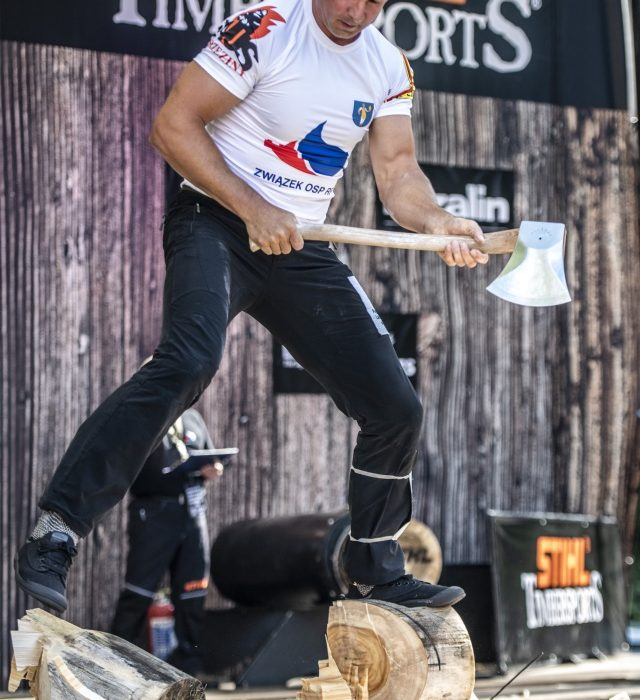 perform during the Stihl Timbersports Poland Championship in Koszecin, Poland on August 11, 2018.